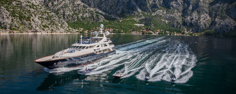 Superyacht JO with her fleet of tenders