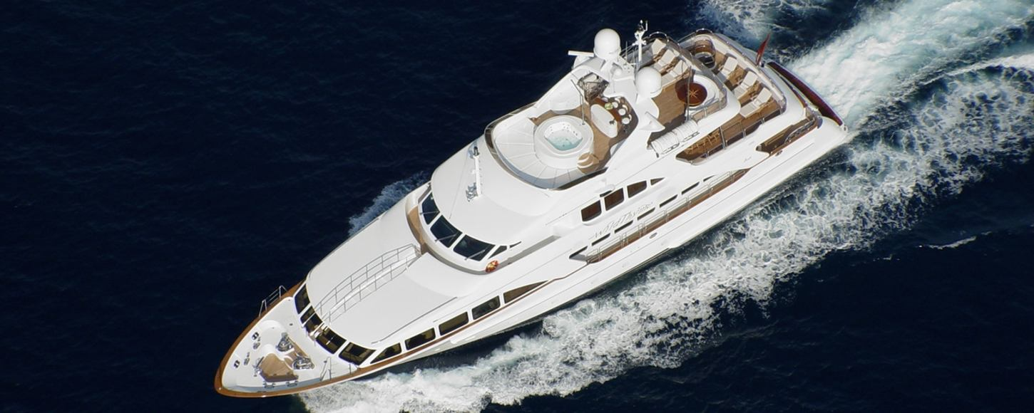 Aeriel view of charter yacht Wild Thyme