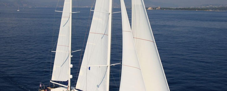 Charter yacht 'Perla del Mare' under sail in Turkey