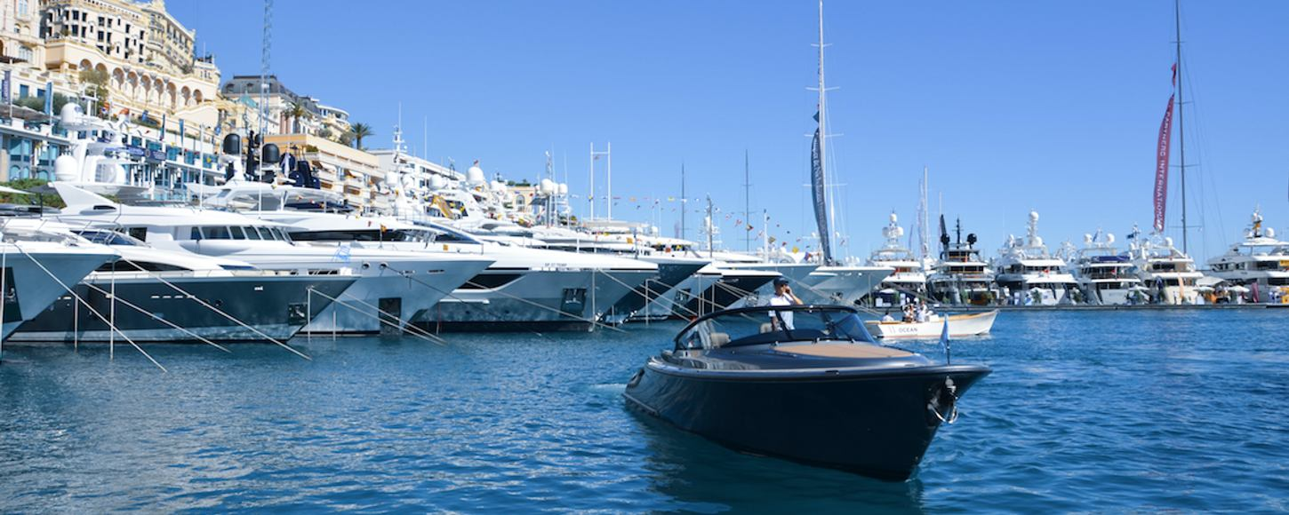 superyacht lineup and tender at monaco yacht show