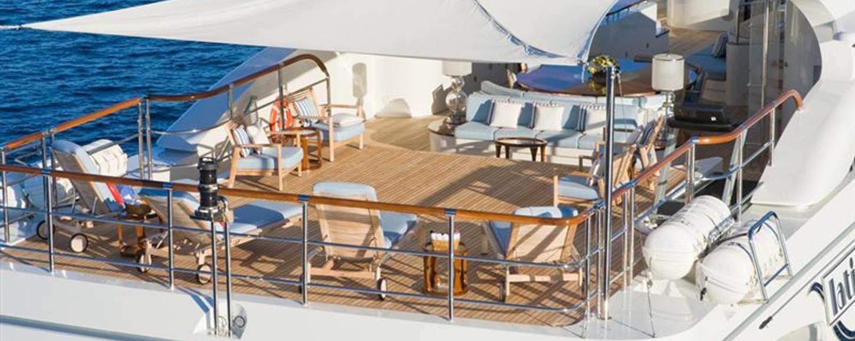Aft decks of superyacht LATITUDE