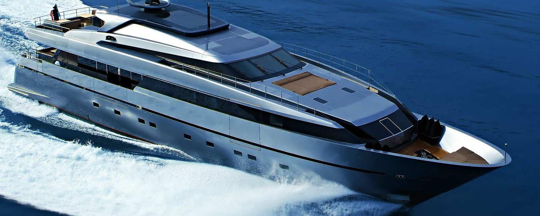 Aerial shot of luxury yacht 4A underway, slicing through the Mediterranean waters