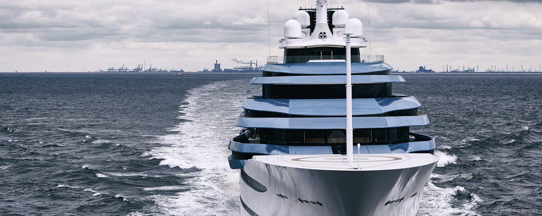 head-on view of 110m yacht jubilee
