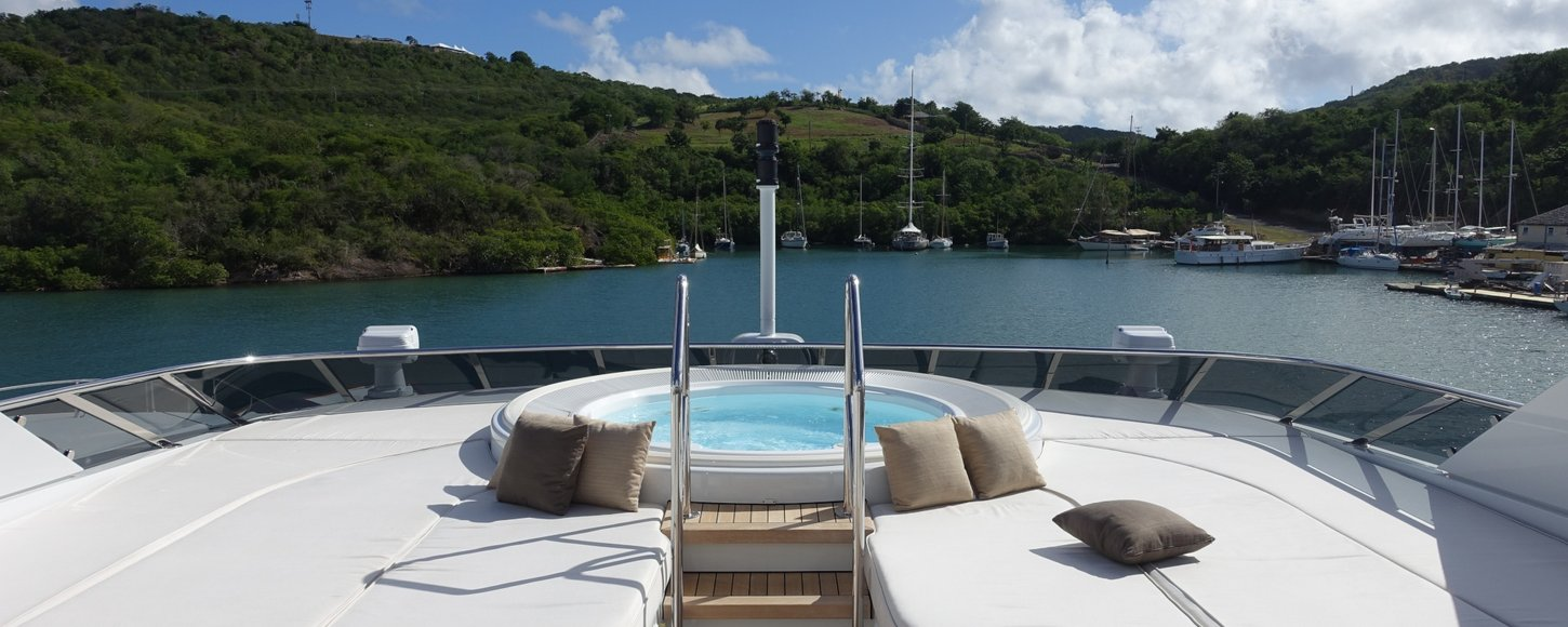 Lady L sun deck with jacuzzi surrounded sun pads