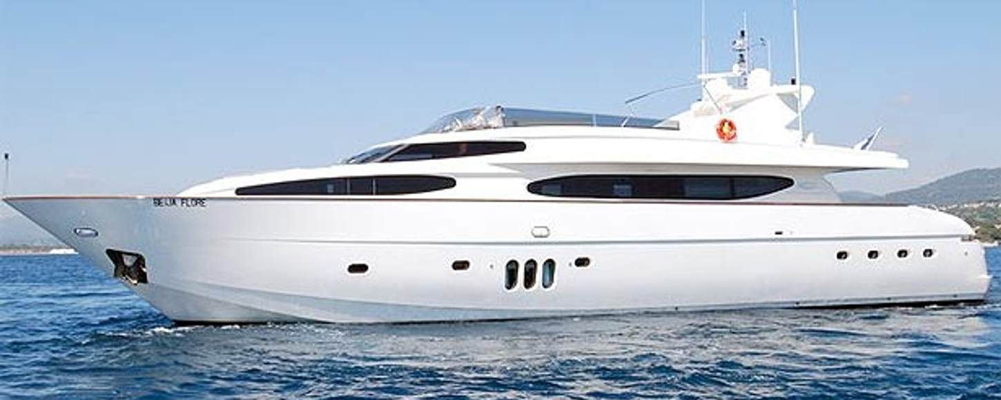 Charter yacht 'BEIJA FLORE' at anchor in the French Riviera