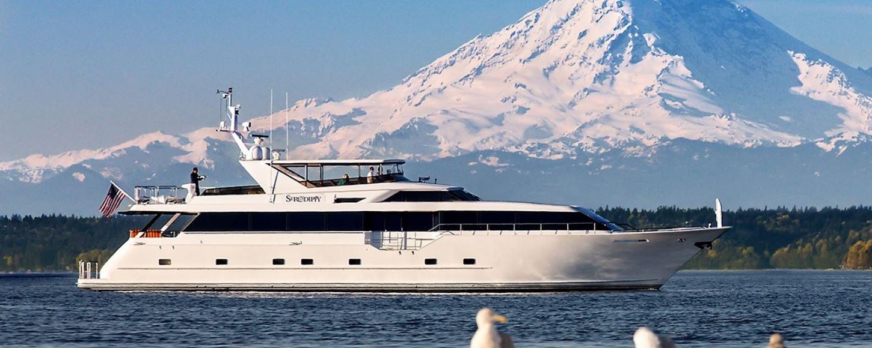 Luxury yacht BLACKWOOD on the water in Alaska