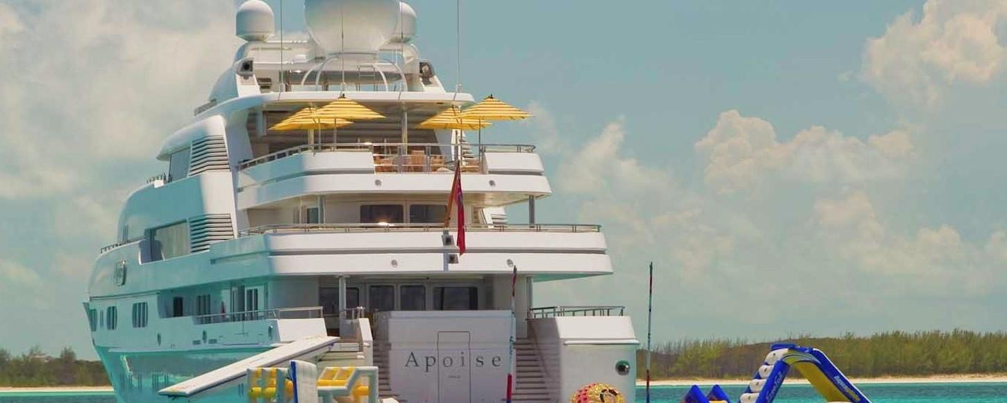 Rear view of charter yacht Titania with her water toys