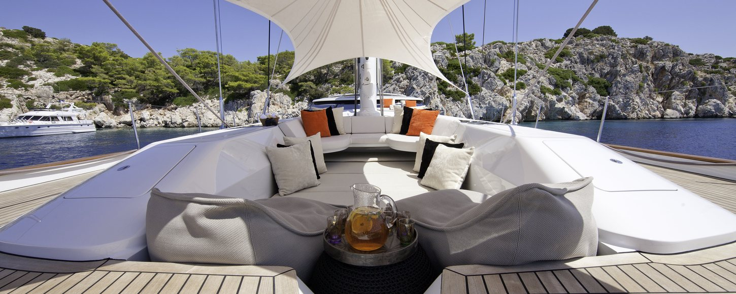Deck seating onboard charter yacht Destination