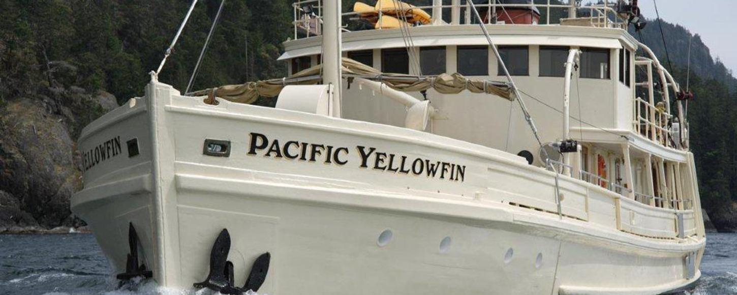 Expedition charter yacht Pacific Yellowfin cruising