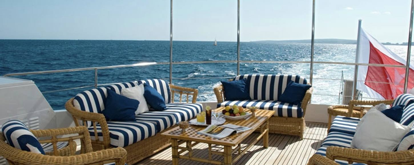On deck seating aboard charter yacht Daniella