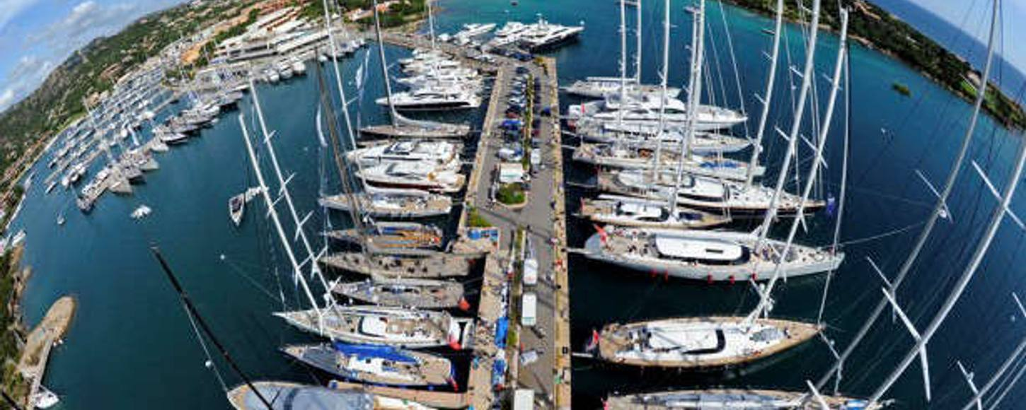Aerial view of the Yacht Club Costa Smeralda marina