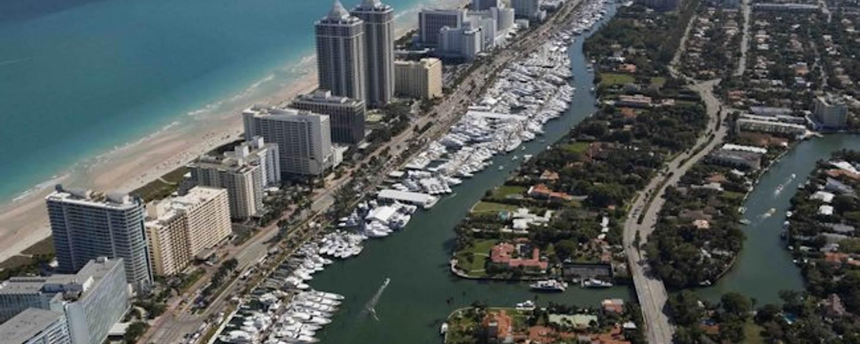 Yachts at anchor at the Miami Yacht Show