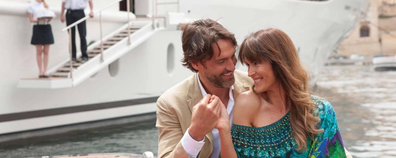 Couple on luxury yacht St David