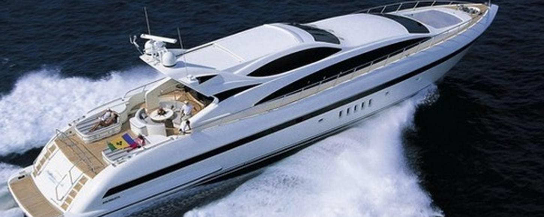 Rear aerial shot of charter yacht Negara cruising in Croatia