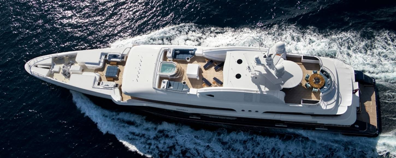 Aerial shot of charter yacht Sycara V