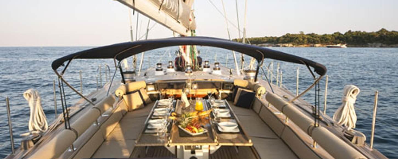 Al fresco dining srea on board charter yacht BK Boo II