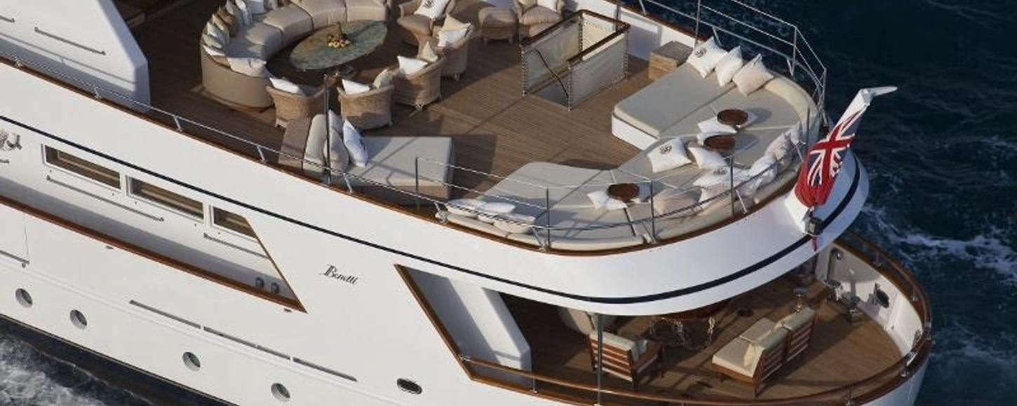 The luxurious deck spaces on board charter yacht Sirahmy
