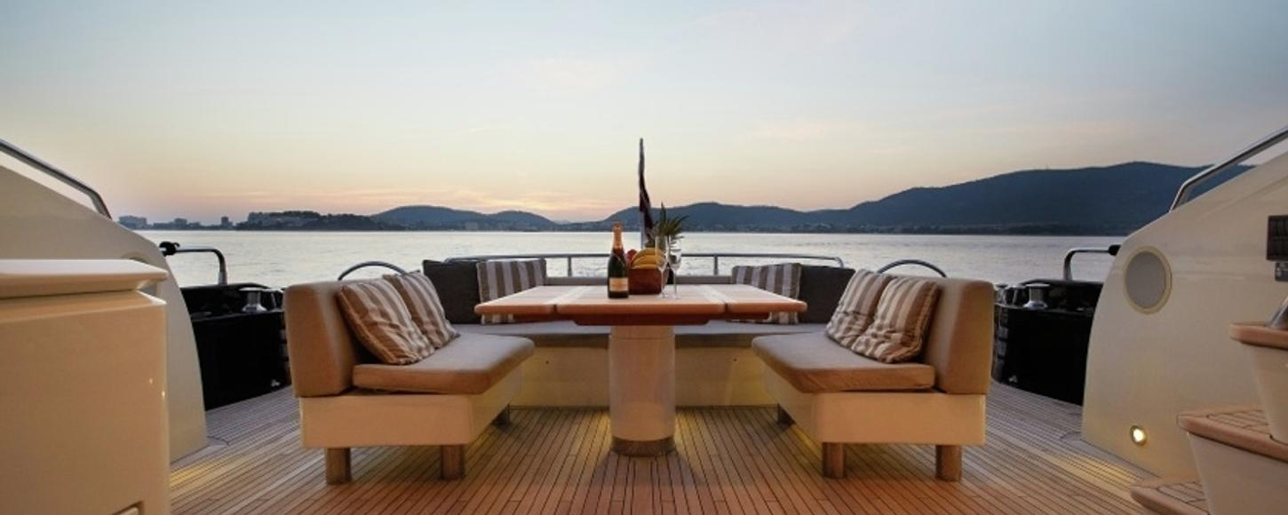 Exterior seating on board charter yacht Raps