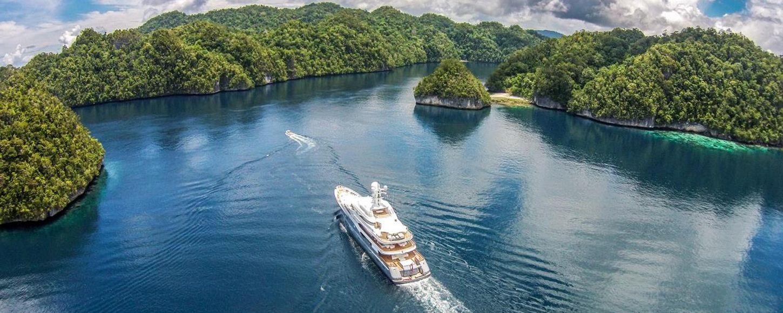 Lurssen Superyacht TV cruising in Palau Islands on Charter