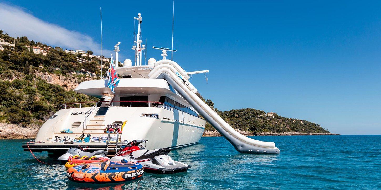 Aft decks of luxury yacht HEMILEA
