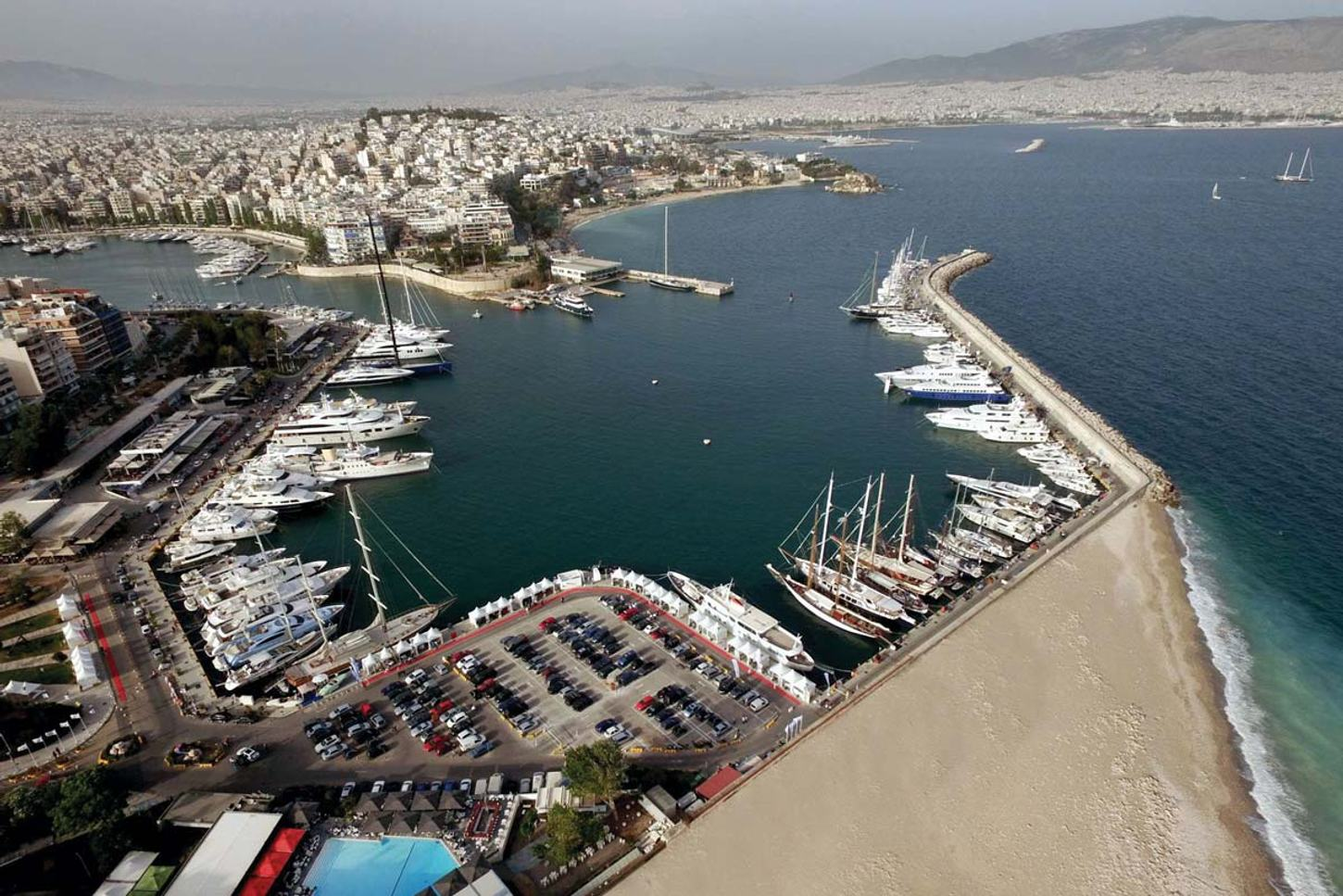 overhead view of the East Med Yacht Show in Marina Zeas, Piraeus