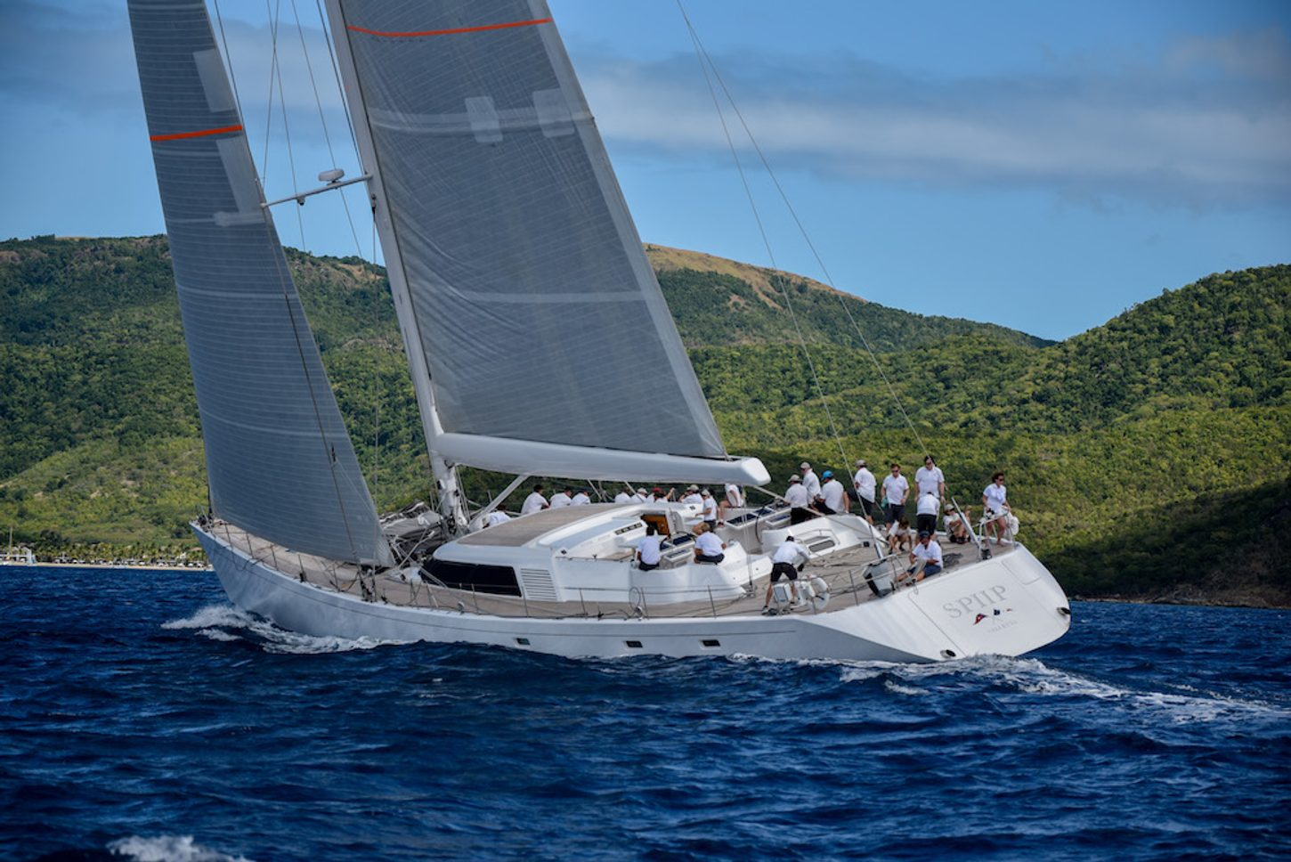 charter yacht SPIIP sails at the Superyacht Challenge Antigua 2018