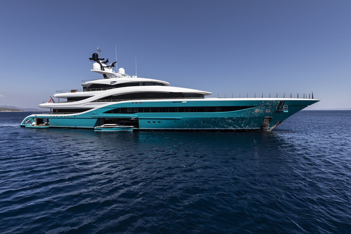 motor yacht GO anchored soon after launch from Turquoise shipyard