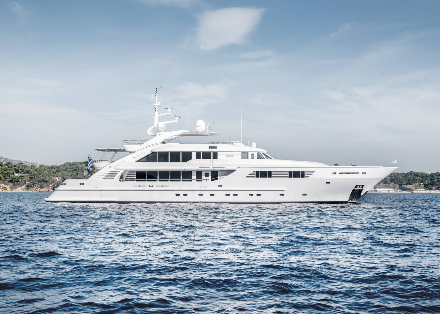 superyacht OASIS at anchor on a Greece yacht charter