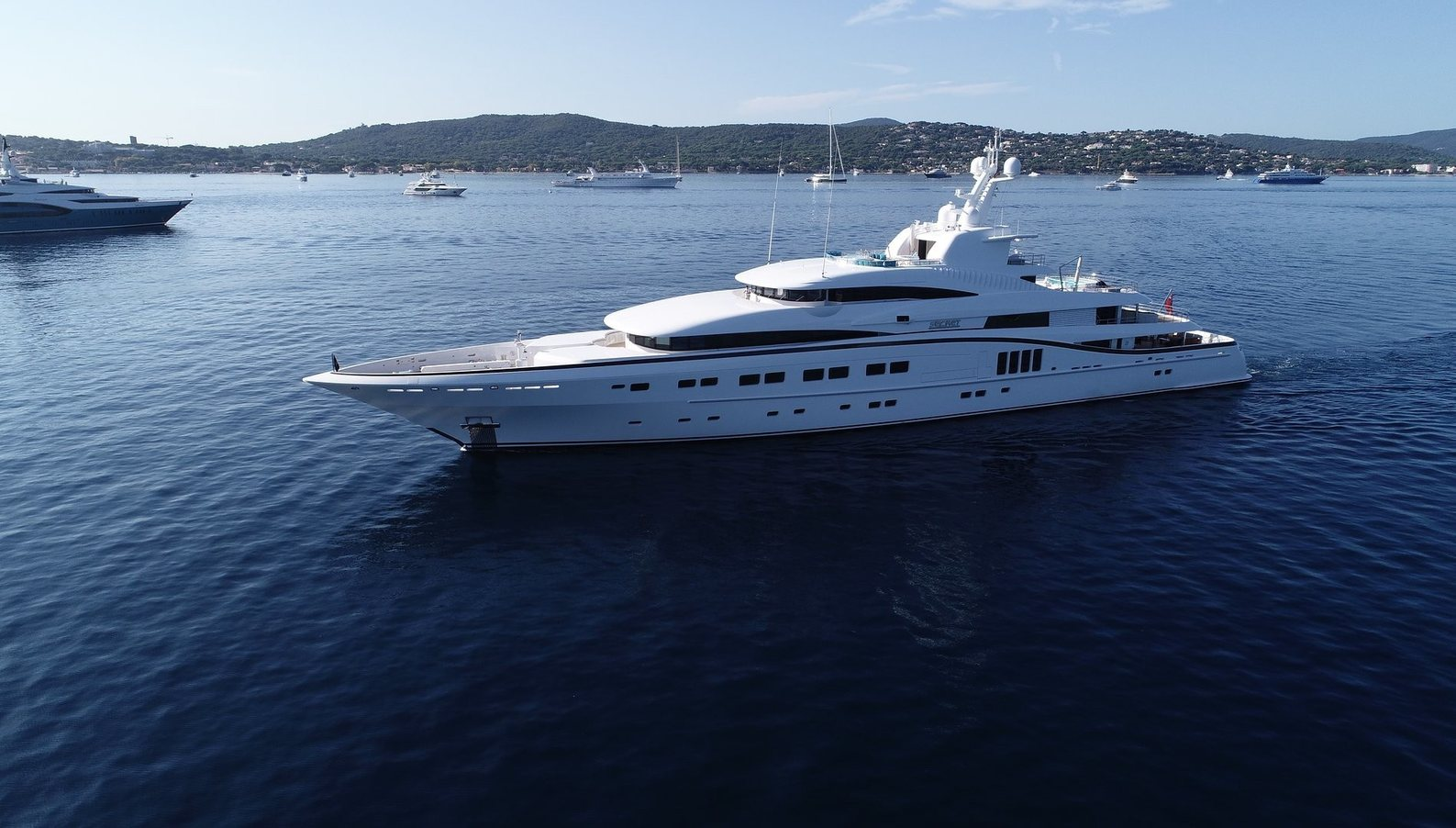 superyacht SECRET anchors on a Mediterranean yacht charter