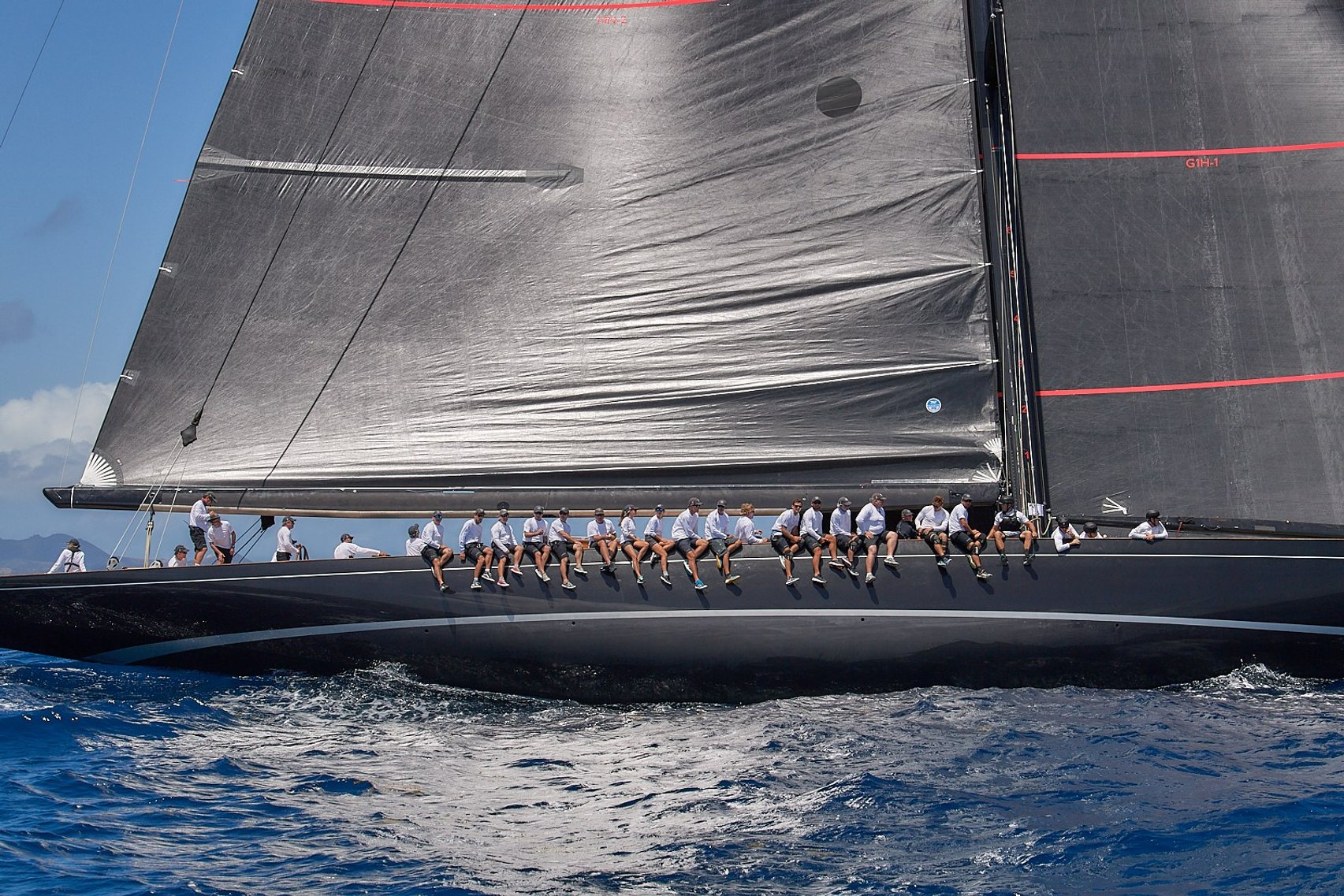 Sailors on yacht at St Barths bucket