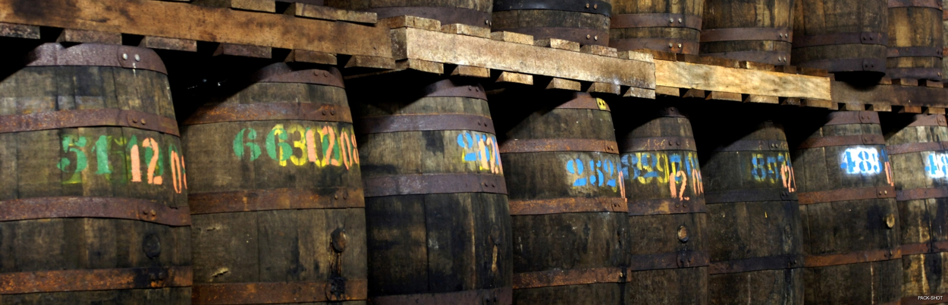 Many signed barrels wit the rum