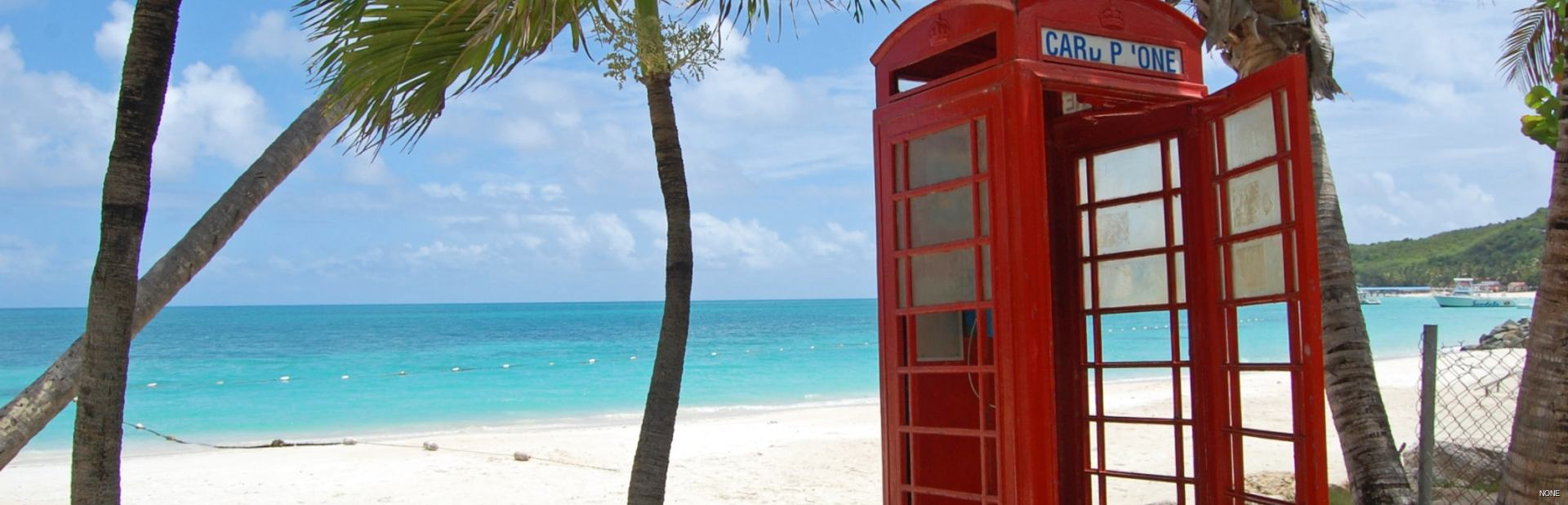 Red phone box on Gibbes Beach, Barbados