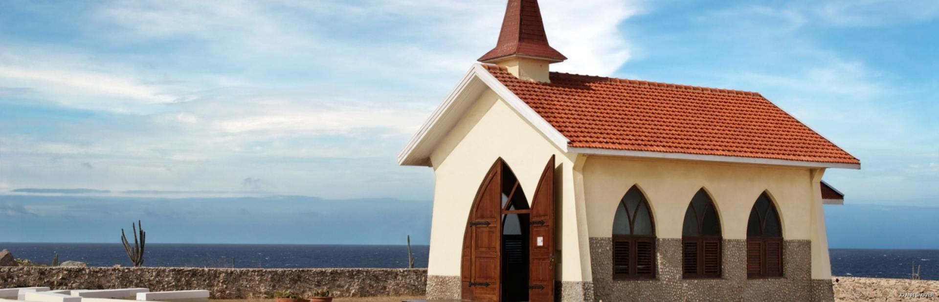 Small chapel on rocky hill