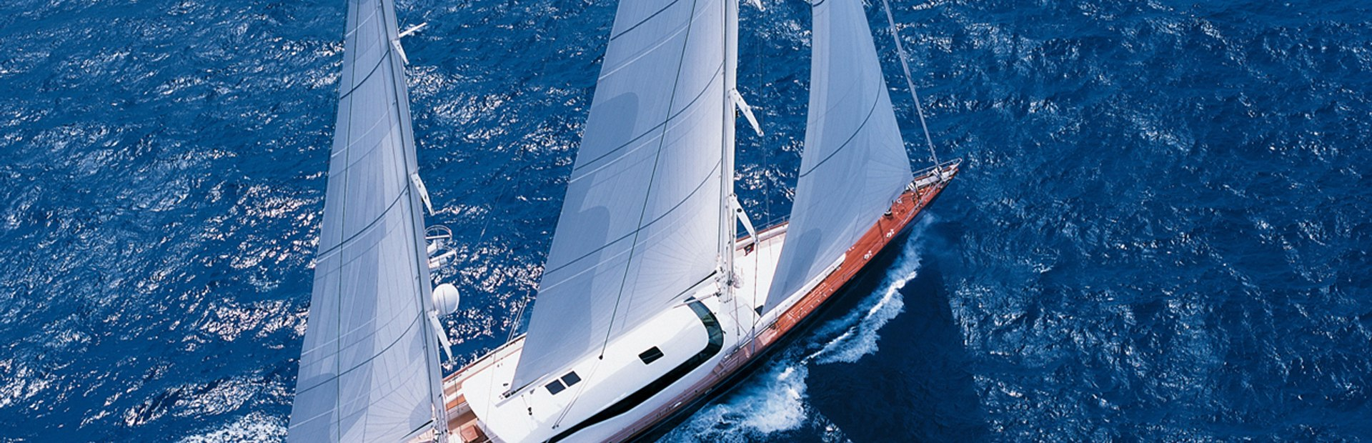 Aerial photo of Perini Navi yacht on charter vacation in the Mediterannean