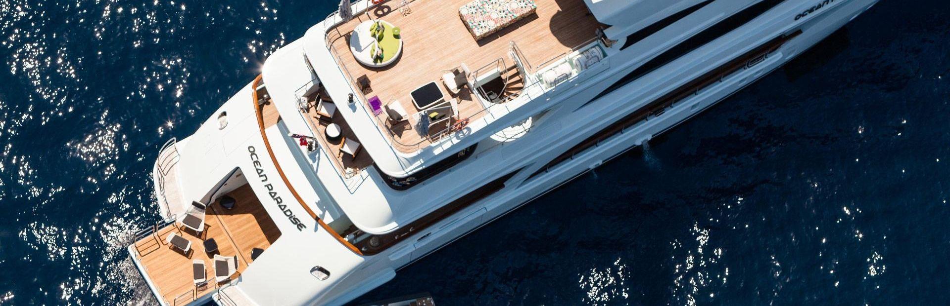 Charter guests enjoying the beachclub on board Benetti Yacht