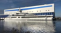 Luxury yacht Lady S underway outside Feadship yard