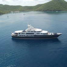 Leander G Yacht Aerial View - Profile