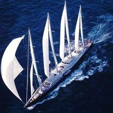 Enigma Yacht Running Shot - Aerial View