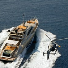 Bagheera Yacht Running Shot with Helicopter