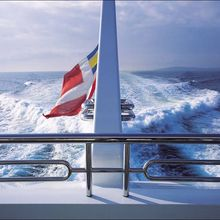 H Yacht Flag seen from the stern