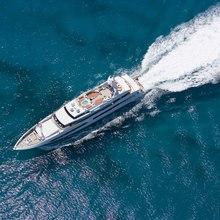 Bad Girl Yacht Aerial Running Shot