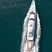 Dragonfly Yacht Running Shot - Aerial