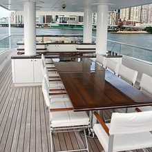 Dragonfly Yacht Aft Deck Dining
