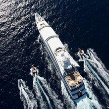 Neom Yacht Aerial view with tenders & toys