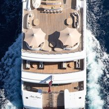 H Yacht Ariel shot of the exterior deck spaces