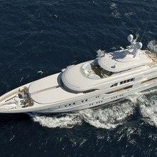 Bella Vita Yacht Running Shot - Aerial