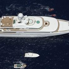 Pegasus VIII Yacht Aerial View with Tenders