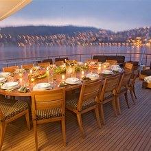 Dream Yacht Upper Aft Deck Sunset