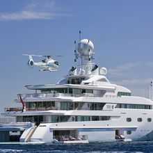 Pegasus VIII Yacht Aft View with Helicoptor