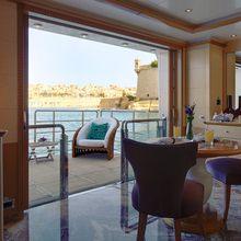 Pegasus VIII Yacht Master Salon & Balcony